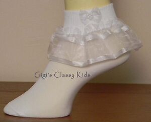 NEW-FANCY-ELEGANT-PAGEANT-GIRLS-LACE-SOCKS-ALL-WHITE-FLOWER-GIRL-WEDDING