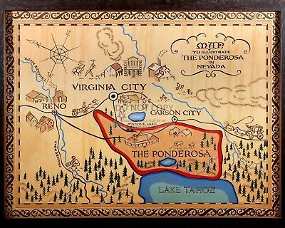 """MAP OF THE PONDEROSA FROM THE TV SERIES """"BONANZA""""  8X10 PUBLICITY PHOTO (FB-457)"""