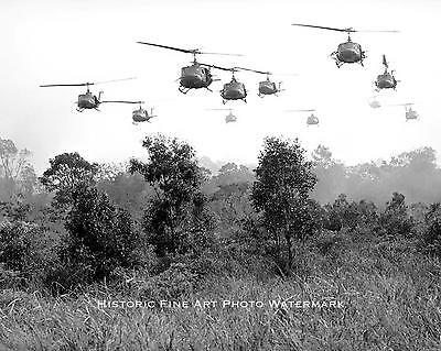 VIETNAM WAR PHOTO US ARMY HELICOPTERS FIRE ON VIET CONG 1968 8x10 #21763