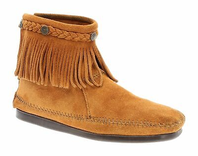 MINNETONKA Moccasins 9 M Womens FRINGE Suede Leather HI TOP Back Zip Boots Brown