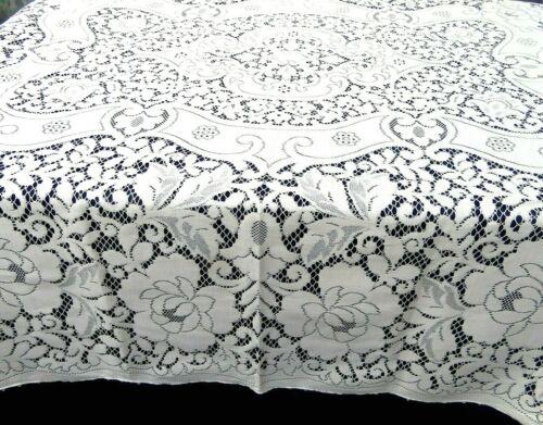 Vintage Quaker Lace Tablecloth 70 x 84 Rectangle Buttonhole Beige Cotton