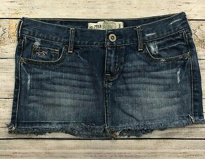 Hollister Distressed Denim Mini Jean Skirt Womens Juniors Size 0 Frayed Hem  i15