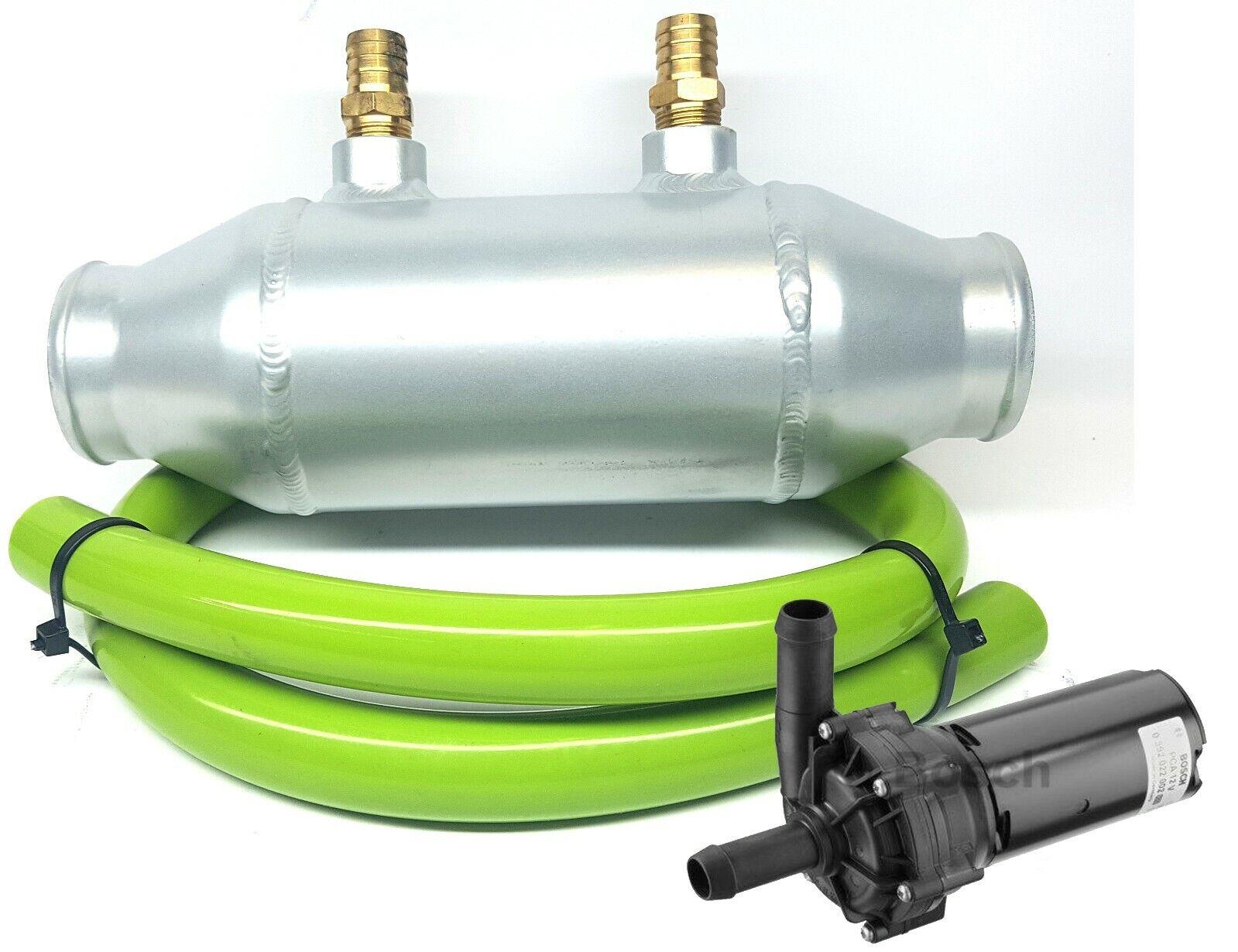 Details about Universal Barrel Alloy ChargeCooler Air Water Intercooler  Bosch Pump Green Hose