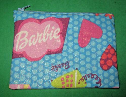 "Make up Bag-Cloth Zipper Pouch -Made From Barbie Print Fabric-7"" x 5""  Handmade"