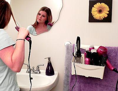 Curling Iron Blow Dryer Holder Hair Care Organizer Storage Bathroom - Ivory