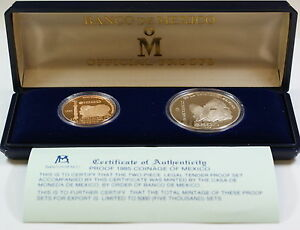 1985-Mexican-Independence-Proof-Gold-Silver-Coin-Set-In-Broken-Box-w-COA
