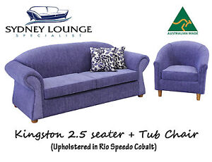Brand New - AUS MADE Kingston (Cobalt) 2.5 seater + Tub Chair Sofa Lounge Couch