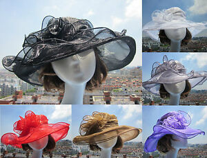 Womens-Vintage-Kentucky-Derby-Sun-Hat-Wide-Brim-Wedding-Church-Racing-8-color