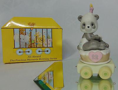 NEW 2000 Precious Moments 12 Year Old BIRTHDAY TRAIN Panda Bear Cake Figurine!