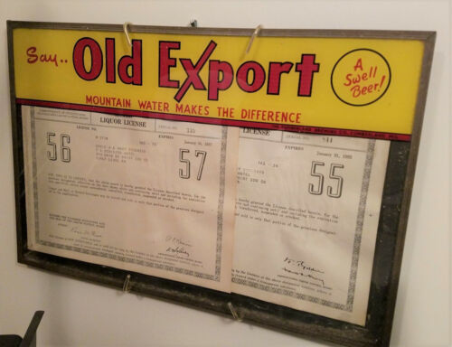 Vintage Old Export Beer Glass Sign Menu/License Holder - Cumberland, Md - NICE!
