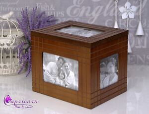 Brown Wooden Box Hold Frame Photo Box Album Wedding Gift Open Lid #67