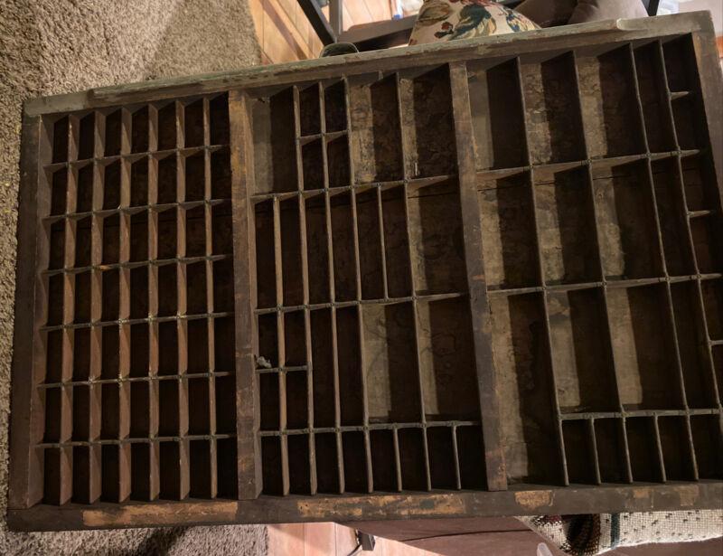 Wood antique PRINTERS TYPE CASE DRAWER 3/4 Typecase Letterpress Handle
