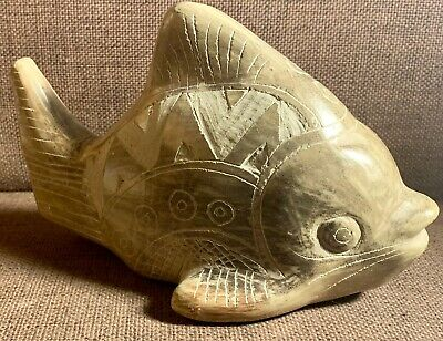 Native American Navajo Horse Hair Pottery Etched Large Fish - Unsigned & Unique
