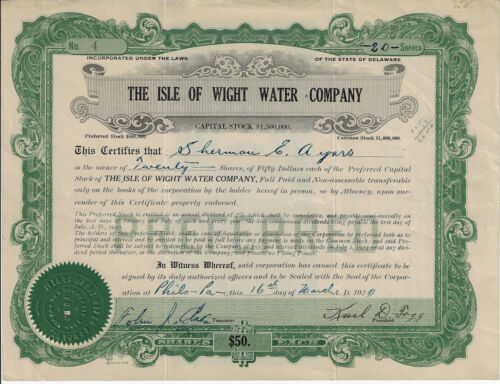 VIRGINIA 1920 The Isle of Wight Water Company Stock Certificate #4