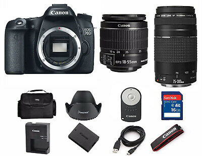 NEW Canon EOS 70D Digital camera with EF-S 18-55mm IS and 75-300mm Lens 1894C002