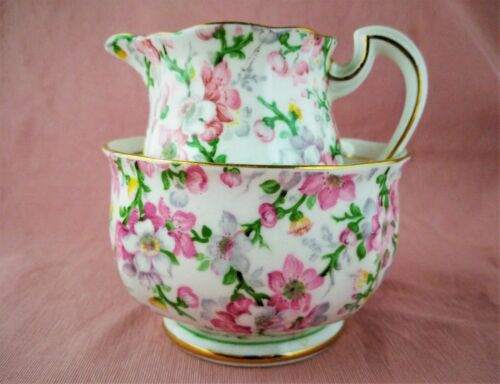 Royal Standard Creamer and Sugar Bowl, May Medley pattern