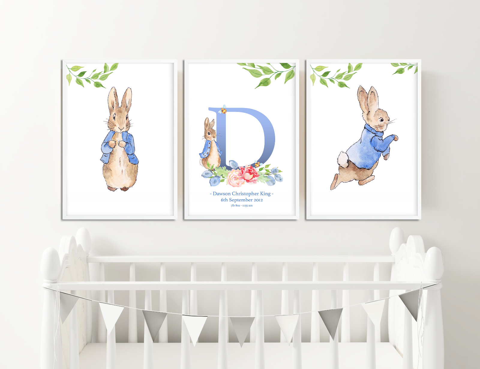 Personalised Peter Rabbit Baby Girl Name Christening Birth Print Gift