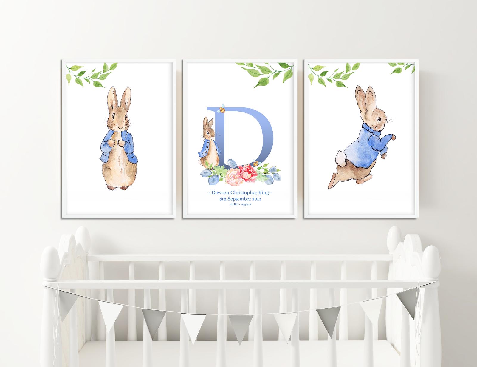 Personnalisé Neuf Bébé Peter Rabbit nom Naissance Bébé Imprimé baptême non encadrés