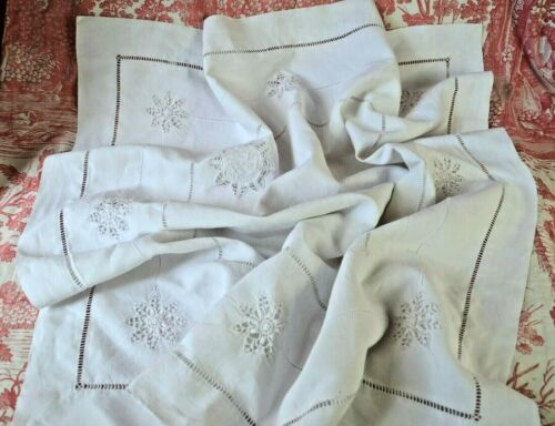 Pair antique French hand embroidered and monogrammed pure linen fil pillow cases