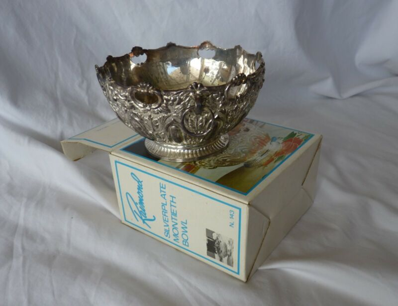 Vintage Collectible Raimond Silverplate Montieth Bowl with Carved Rings No. 143