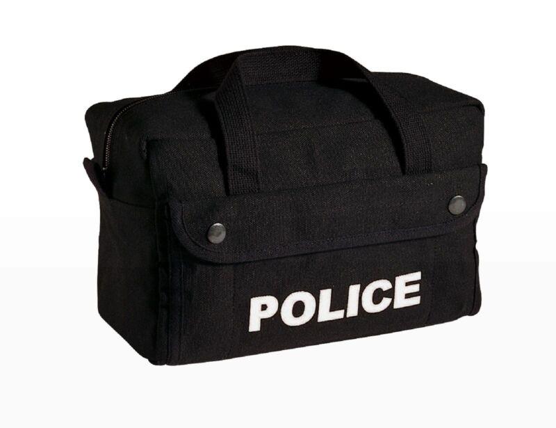 Small Black Canvas POLICE Logo Gear Bag