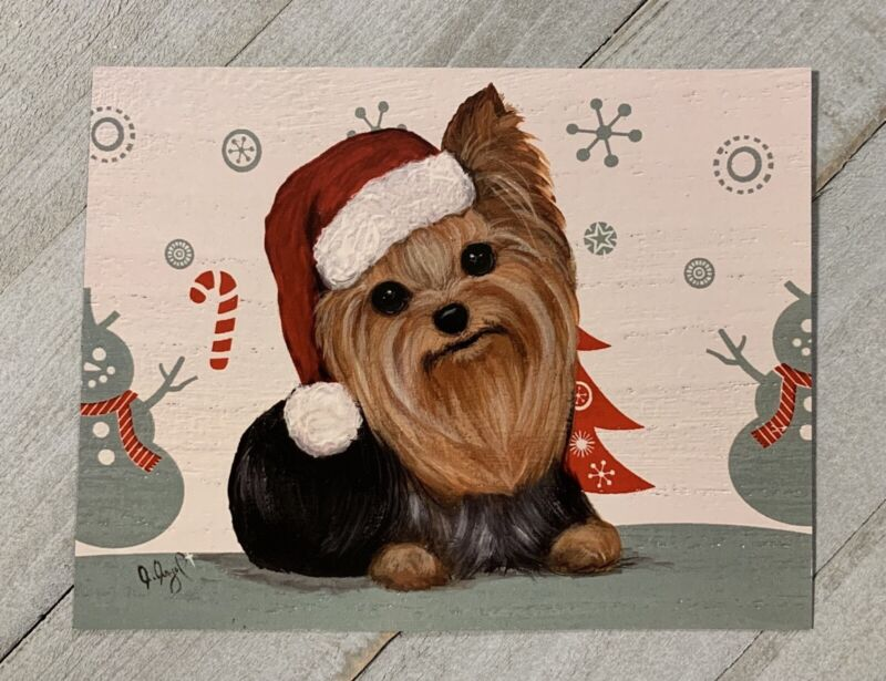 Yorkshire terrier Yorkie PRINT Painting art CHRISTMAS Magnet Stocking Stuffer