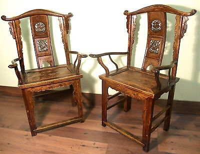 Antique Chinese High Back Arm Chairs (5909) (Pair), Circa 1800-1949
