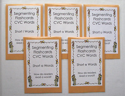 5 Teacher Made Literacy Centers Segmenting Flashcards Short Vowel CVC Words