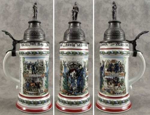 GERMAN REGIMENTAL MILITARY 1905-1909 PORCELAIN BEER STEIN with LITHOPHANE
