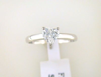 1 ct. Heart Shape Cubic Zirconia Solitaire Ring Sterling Silver (1 Ct Cubic Zirconia)