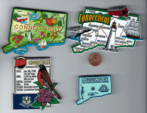 CONNECTICUT SOUVENIR MAGNETS  SET OF 4  includes JUMBO and ARTWOOD STATE  MAP