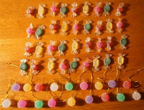 54 Mini Acrylic Christmas Candy Sparkle Sugar Gumdrop Ornaments Candies Decor
