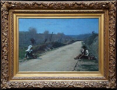 GEORGE SHERWOOD HUNTER BRITISH 19th CENTURY ART PORTRAIT LANDSCAPE OIL PAINTING