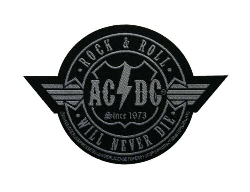 AC/DC Rock N Roll Will Never Die Cut-Out Woven Sew On Battle Jacket Patch - 090