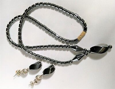 Vintage Hematite Set Necklace Earring Dangle Pendant Bead Black Gray Retro Mod ()