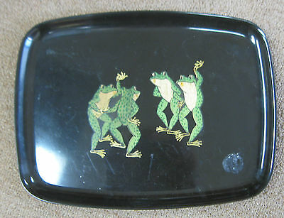 Couroc California Monterey Dancing Frogs Rectangle Serving Tray Fun Vintage Mod