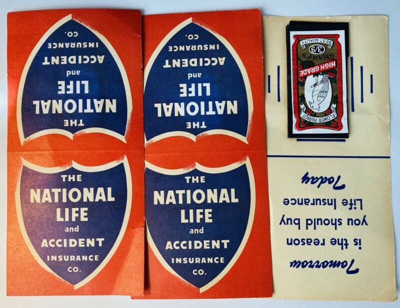 National Life Accident Insurance Vintage Antique 3 Needle Books Advertising