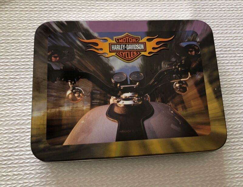COLLECTIBLE HARLEY DAVIDSON MOTOR CYCLES PLAYING CARDS 2 DECKS SEALED IN TIN