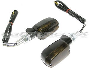 Motorcycle Black Billet Smoked Lens 2 Wire Mini Stalk Short Stem Turn Signals