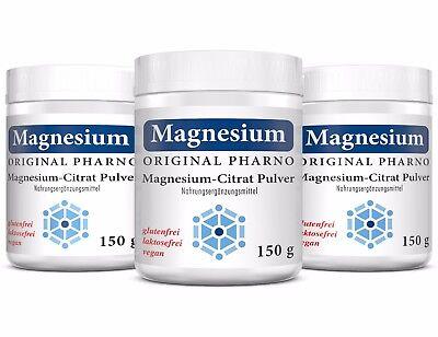 3 Magnesium (Magnesium-Citrat Pulver - 100% Magnesiumcitrat - Ohne Zusätze - 3 Dosen | 450 g)