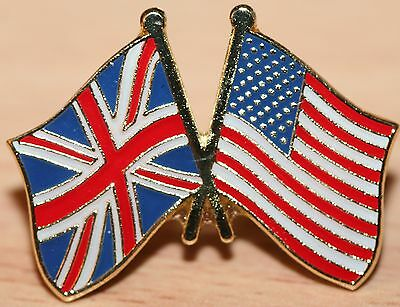 UK & USA FRIENDSHIP Flag Metal Pin Badge Great Britain America