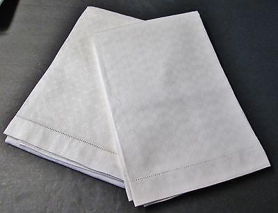 Antique Pair Diamond Texture Linen Large Bath Towels Hemstitched Unused?