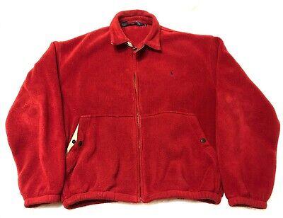 Polo Ralph Lauren Full Zip Fleece Jacket Red Size L made in USA
