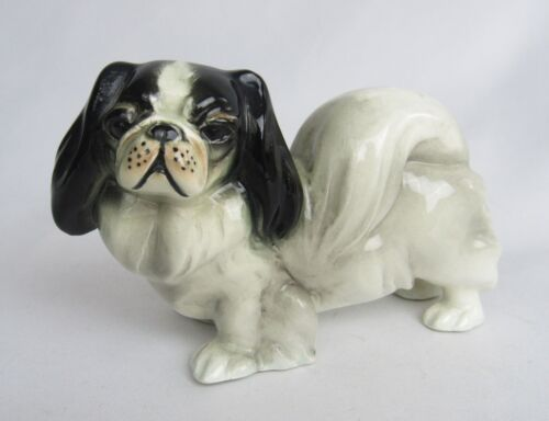Vintage Germany Porcelain Japanese Chin Spaniel Dog Figurine - Adorable!