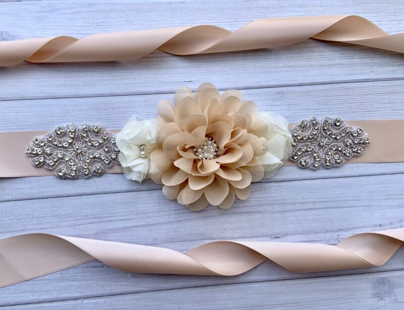 Champagne/Nude /Ivory Flowers And Rhinestone Wedding / Bridal Sash Belt