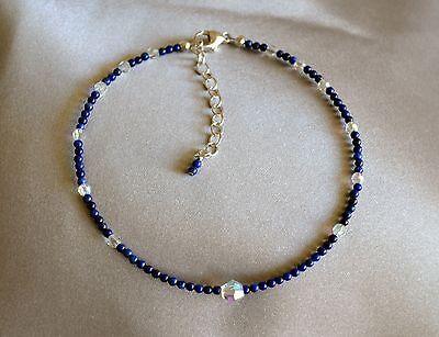 Dark Blue Lapis Lazuli & Swarovski Crystal Ankle Bracelet 9 to 11 Inches