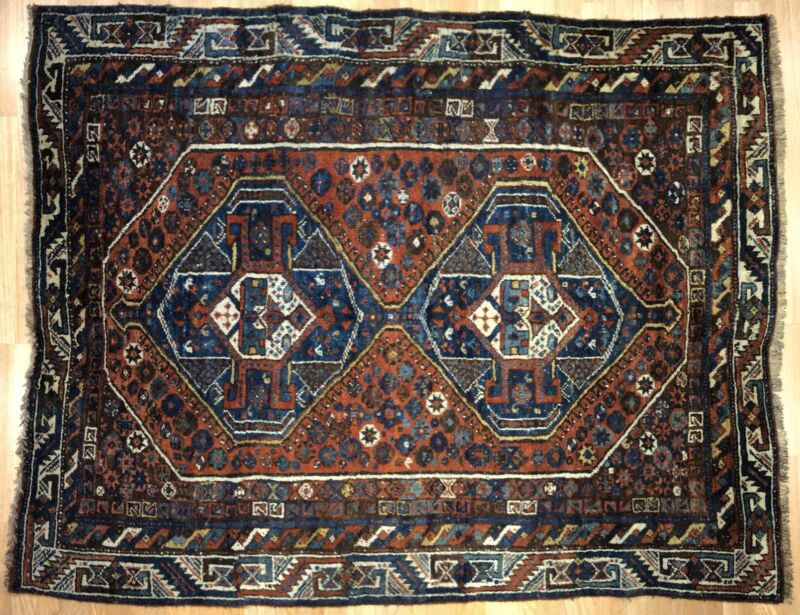 Terrific Tribal - 1910s Antique Khamseh Rug - Persian Carpet - 5 X 6.3 Ft.