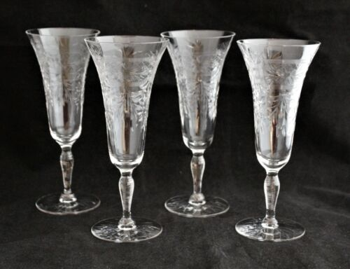 SET 4 LIBBEY ROCK SHARPE CRYSTAL PARFAIT GLASS