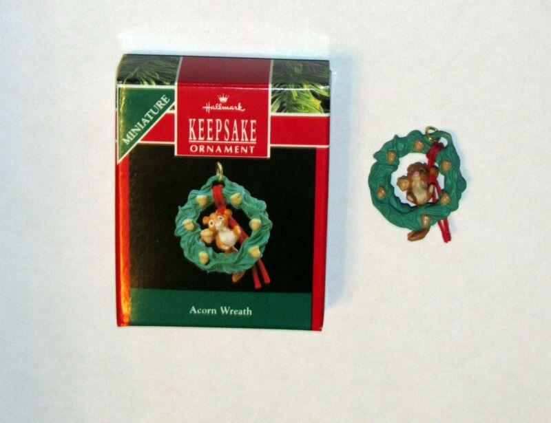 Hallmark Miniature  Ornament Acorn Wreath Squirrel Dangles in the Middlle