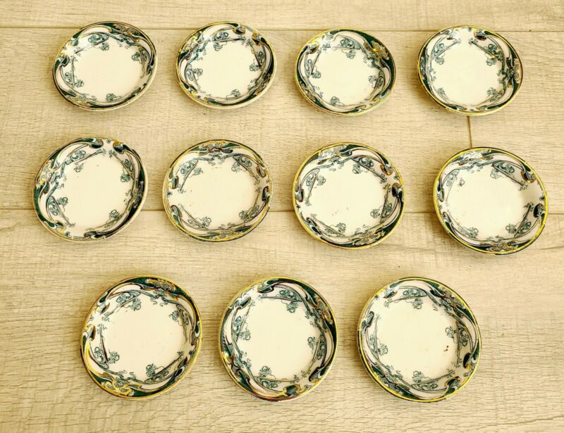 LOT OF 11 1907  ROYAL STAFFORDSHIRE IRIS SMALL 3X3 SAUCE CUPS